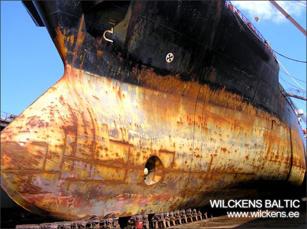 vessel is waiting for surface preparation in dry dock